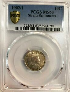 Click now to see the BUY IT NOW Price! PCGS MS63 1902/1 STRAITS SETTLEMENTS 10CENTS BU OVERDATE POP TOP