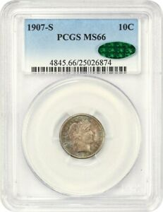 1907 S 10C PCGS/CAC MS66   PRETTY TONING   BARBER DIME   PRETTY TONING