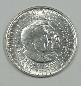 1954 S WASHINGTON/CARVER COMMEMORATIVE SILVER 50C ALMOST UNCIRCULATED