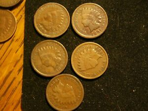 NICE LOT OF 5 VINTAGE  INDIAN CENTS BETWEEN 1890 & 1899.