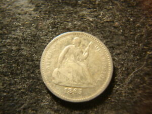 1865 S  VG F  SEATED LIBERTY HALF  DIME NICE RIMS  DECENT COIN FTW