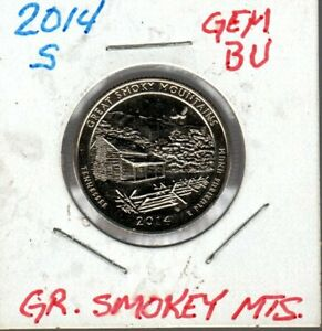 2014 S GREAT SMOKY MOUNTAINS NATIONAL PARK QUARTER ATB  TENNESSEE