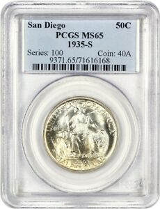Click now to see the BUY IT NOW Price! 1935 S SAN DIEGO 50C PCGS MS65   SILVER CLASSIC COMMEMORATIVE
