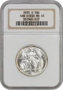 Click now to see the BUY IT NOW Price! 1935 S SAN DIEGO 50C NGC MS65   SILVER CLASSIC COMMEMORATIVE