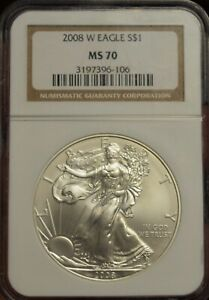 2008 W NGC MS70 BURNISHED AMERICAN SILVER EAGLE  CLASSIC BROWN LABEL