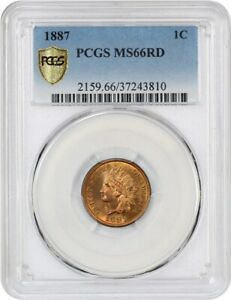 Click now to see the BUY IT NOW Price! 1887 1C PCGS MS66 RD   LUSTROUS GEM   INDIAN CENT   LUSTROUS GEM