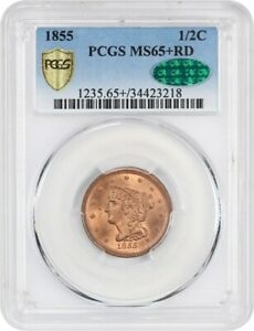 Click now to see the BUY IT NOW Price! 1855 1/2C PCGS/CAC MS65  RD   GORGEOUS RED GEM   GORGEOUS RED GEM