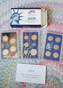 2008 US MINT PROOF SET STATE QUARTERS & PRESIDENTIAL $1 COA BOX 14 COINS