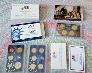2007 US MINT PROOF SET STATE QUARTERS & PRESIDENTIAL $1 COA BOX 14 COINS