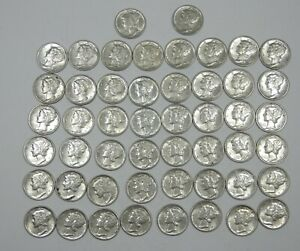 LOT X 50 1942 S MERCURY DIMES ALMOST UNCIRCULATED SILVER 10C'S