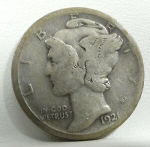 BARGAIN 1921 D MERCURY DIME GOOD SILVER 10 CENTS