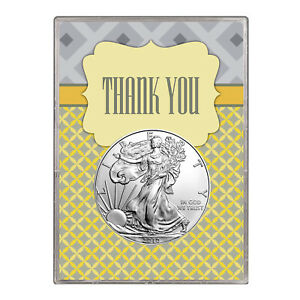 2010 $1 AMERICAN SILVER EAGLE GIFT HOLDER  THANK YOU DESIGN