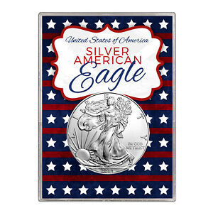 2014 $1 AMERICAN SILVER EAGLE GIFT HOLDER  STARS AND STRIPES DESIGN