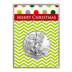 2014 $1 AMERICAN SILVER EAGLE GIFT HOLDER  MERRY CHRISTMAS DESIGN
