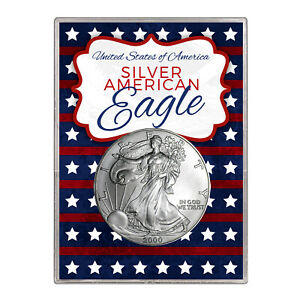 2000 $1 AMERICAN SILVER EAGLE GIFT HOLDER  STARS AND STRIPES DESIGN
