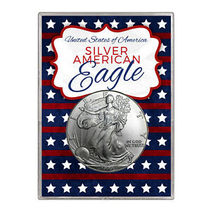1999 $1 AMERICAN SILVER EAGLE GIFT HOLDER  STARS AND STRIPES DESIGN