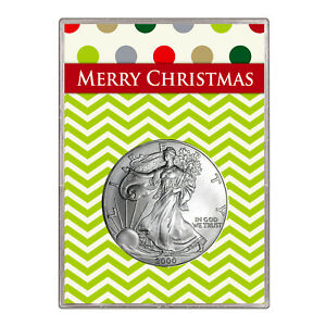 2000 $1 AMERICAN SILVER EAGLE GIFT HOLDER  MERRY CHRISTMAS DESIGN