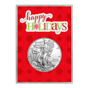 2014 $1 AMERICAN SILVER EAGLE GIFT HOLDER  HAPPY HOLIDAYS DESIGN
