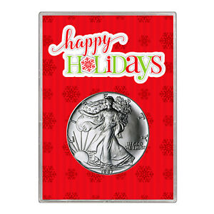 1987 $1 AMERICAN SILVER EAGLE GIFT HOLDER  HAPPY HOLIDAYS DESIGN