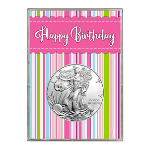 2010 $1 AMERICAN SILVER EAGLE GIFT HOLDER  HAPPY BIRTHDAY PINK DESIGN