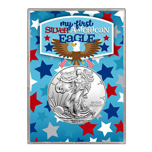 2014 $1 AMERICAN SILVER EAGLE GIFT HOLDER   FIRST SILVER EAGLE DESIGN