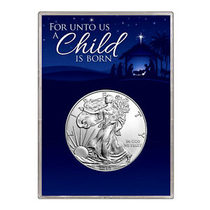 2010 $1 AMERICAN SILVER EAGLE GIFT HOLDER  CHRISTMAS NATIVITY DESIGN