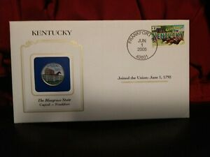2001 KENTUCKY STATE QUARTER COLORIZED W/ USPS STATE STAMP