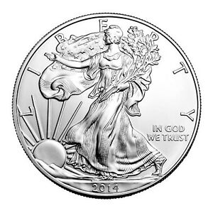 2014 SILVER EAGLE WITH AIRTIGHT HOLDER $1 BRILLIANT UNCIRCULATED
