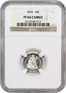1870 10C NGC PR 66 CAM   FROSTY CAMEO PROOF   LIBERTY SEATED DIME