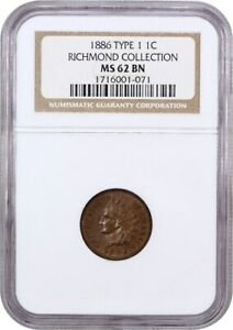 1886 1C NGC MS62 BN  TYPE 1  EX: RICHMOND COLLECTION   INDIAN CENT