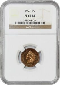 1907 1C NGC PR 64 RB   INDIAN CENT   PROOF TYPE COIN