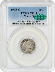 1905 O 10C PCGS/CAC XF45  MICRO O  UNDERRATED  VARIETY   BARBER DIME