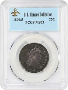 Click now to see the BUY IT NOW Price! 1806/5 25C PCGS MS63 EX: D.L. HANSEN   BEAUTIFUL OVERDATE   DRAPED BUST QUARTER