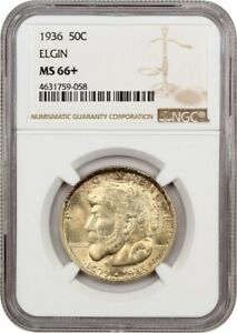1936 ELGIN 50C NGC MS66  COLORFUL TONING   SILVER CLASSIC COMMEMORATIVE