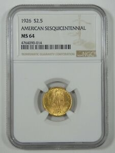 1926 SESQUICENTENNIAL OF AMERICAN IND. GOLD COMMEMORATIVE $2.50 NGC MS 64