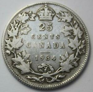 CANADA 1934 SILVER 25 CENTS OLD DATE KING EDWARD VII