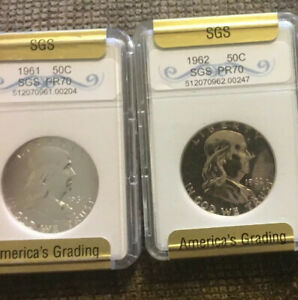 1961 AND 1962 90  SILVER PROOF FRANKLIN HALF DOLLARS.