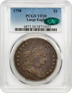 1798 LARGE EAGLE $1 PCGS/CAC VF20  KNOB 9  GREAT BUST DOLLAR TYPE COIN