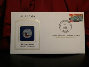 2003 ALABAMA STATE QUARTER COLORIZED W/ USPS STATE STAMP. GREAT OFFICE/WORK GIFT