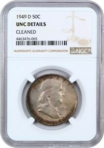 1949 D 50C NGC UNC DETAILS  CLEANED    FRANKLIN HALF DOLLAR