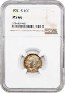 1951 S 10C NGC MS66   ROOSEVELT DIME