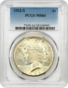 1922 S $1 PCGS MS64   PEACE SILVER DOLLAR