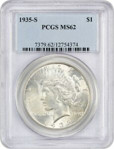 1935 S $1 PCGS MS62   PEACE SILVER DOLLAR