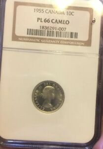 1955 CANADA SILVER 10C NGC PL66 CAMEO