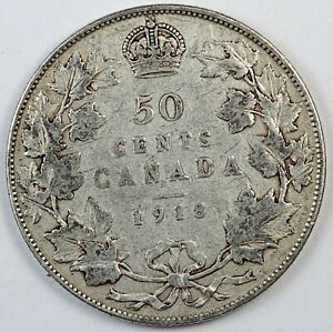 1918 CANADA / CANADIAN FIFTY CENTS HALF DOLLAR   F FINE CONDITION