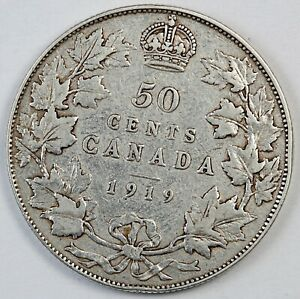 1919 CANADA / CANADIAN FIFTY CENTS HALF DOLLAR   F FINE CONDITION