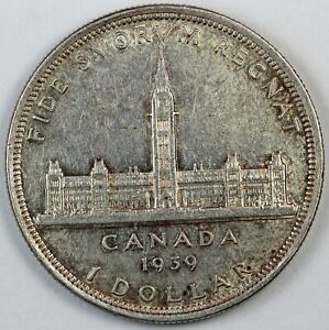 1939 CANADA / CANADIAN ONE SILVER DOLLAR   AU ABOUT UNCIRCULATED CONDITION