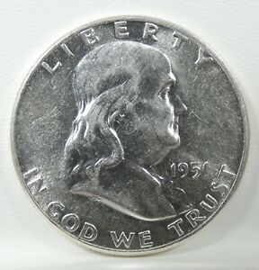 1951 FRANKLIN HALF DOLLAR ALMOST UNCIRCULATED SILVER 50 CENTS