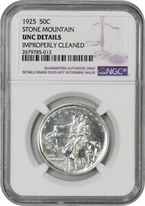 1925 STONE MOUNTAIN 50C NGC UNC DETAILS  IMPROPERLY CLEANED