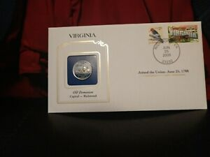 2000 VIRGINIA STATE QUARTER COLORIZED W/ USPS STATE STAMP